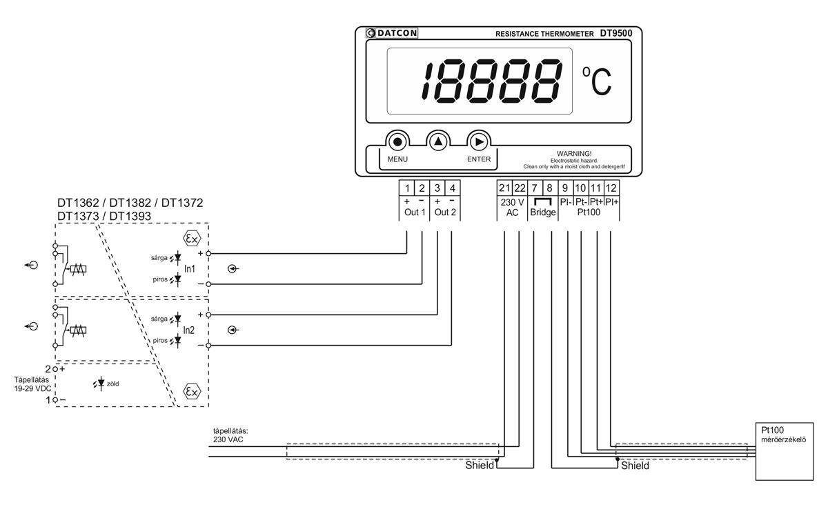 DT9500 N PS hőmérsékletmérő / távadó-alkalmazástechnikai ábra