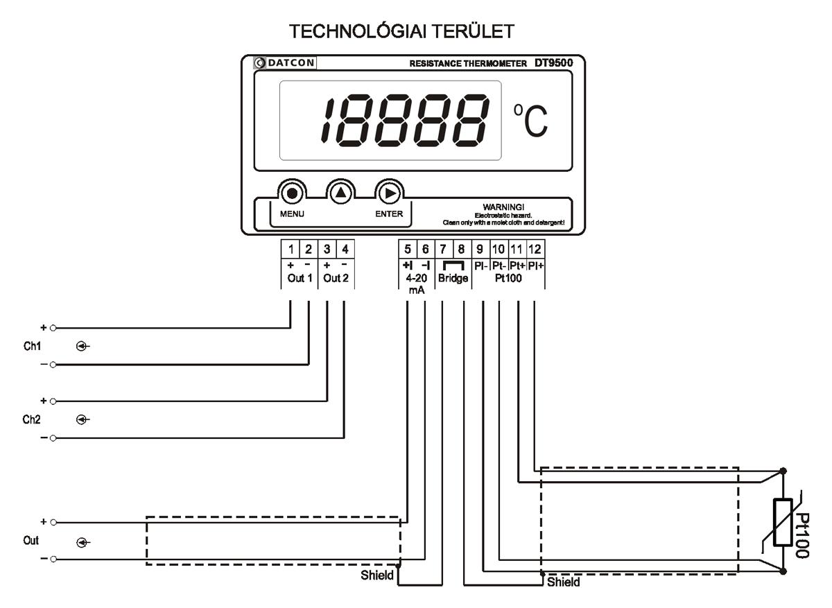 DT9500 N hőmérsékletmérő / távadó-alkalmazástechnikai ábra
