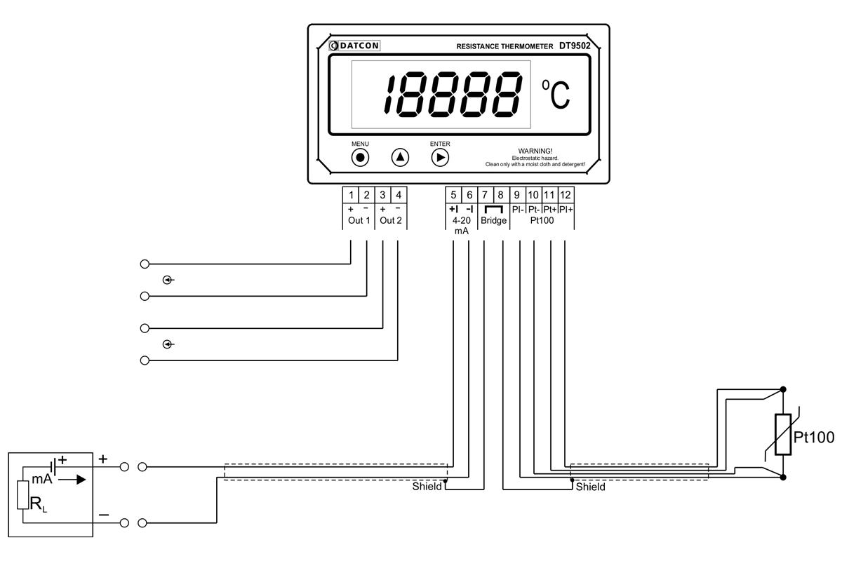 DT9502 N hőmérsékletmérő / távadók-alkalmazástechnikai ábra