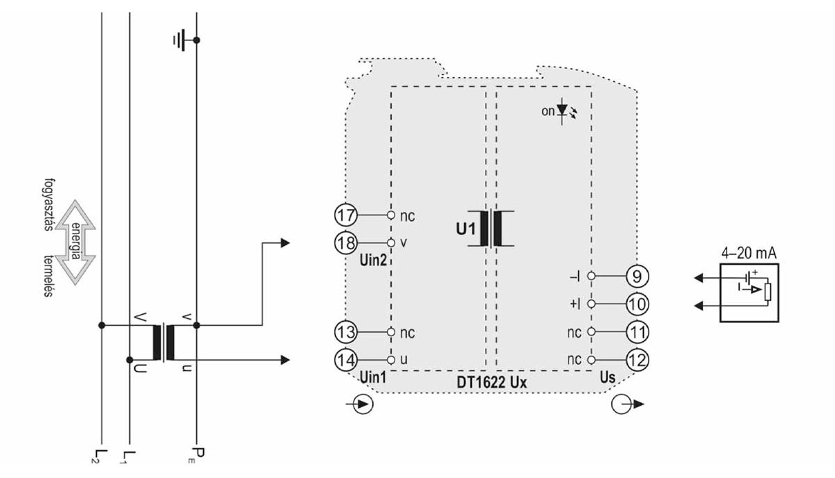 DT1622 U huroktáplálású váltakozófeszültség-távadók-alkalmazástechnikai ábra