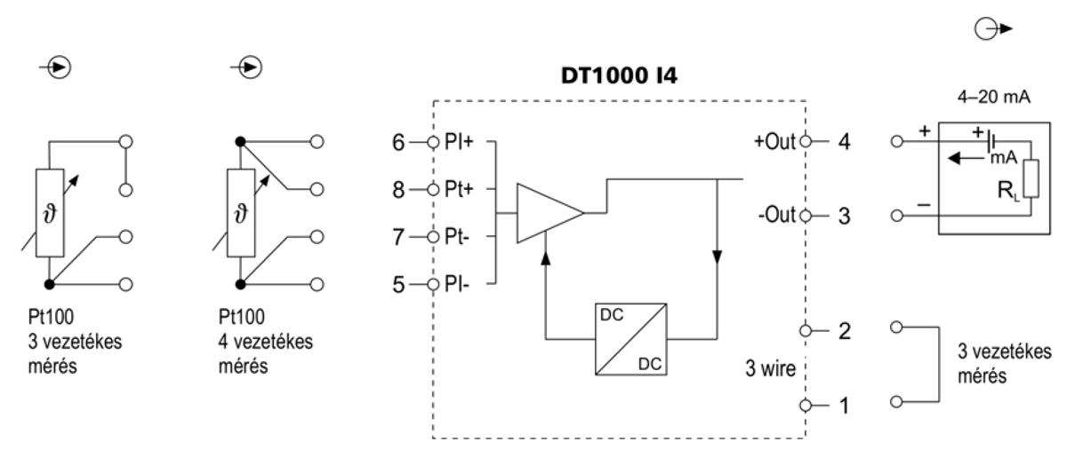 DT1000 I4 Hőmérséklettávadó alkalmazástechnikai ábra