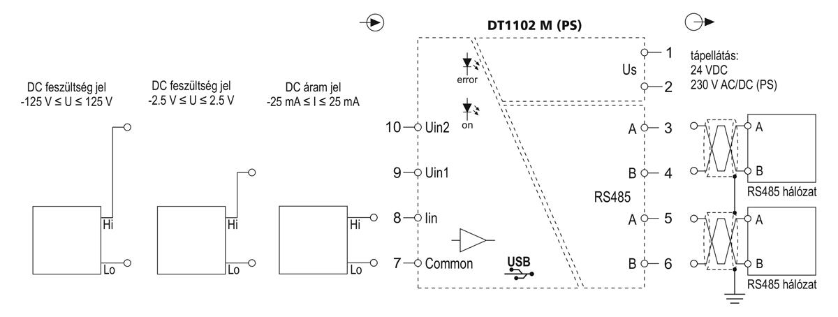 DT1102 M MODBUS kimenetű galvanikus elválasztó-alkalmazástechnikai ábra