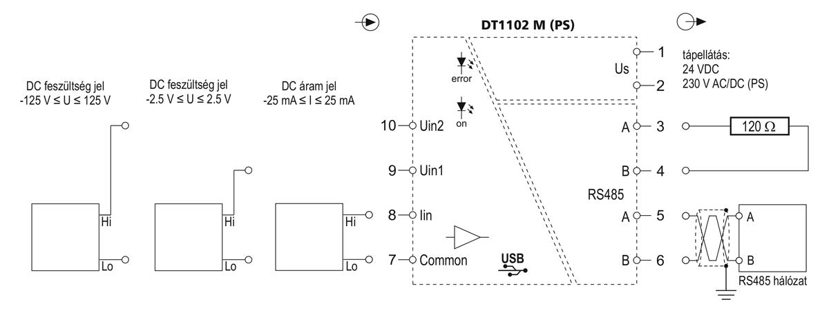 DT1102 M MODBUS kimenetű galvanikus elválasztó-alkalmazástechnikai ábra 2