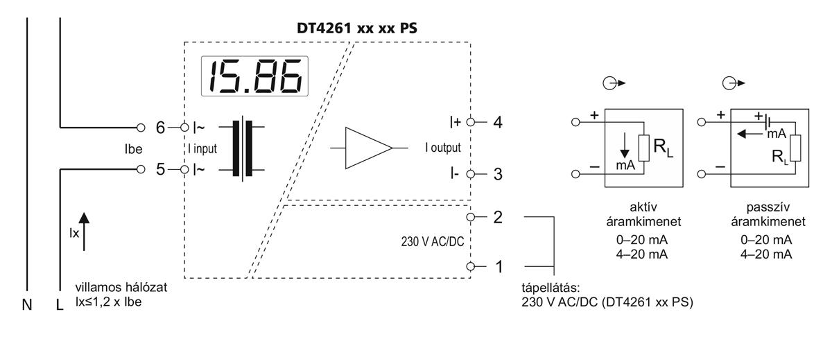 DT4261 AC árammérő- alkalmazástechnikai ábra 2
