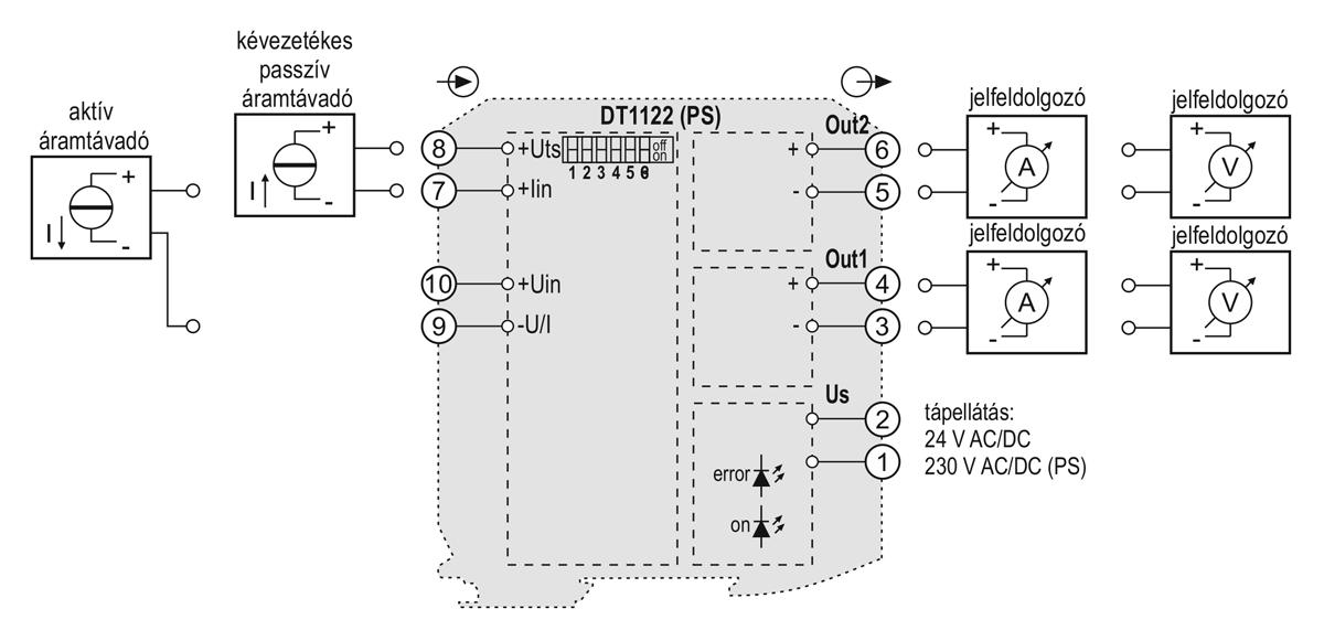 DT1122 kettős kimenetű galvanikus leválasztó-alkalmazástechnikai ábra-1