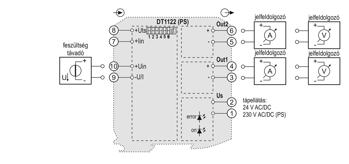 DT1122 kettős kimenetű galvanikus leválasztó-alkalmazástechnikai ábra-2